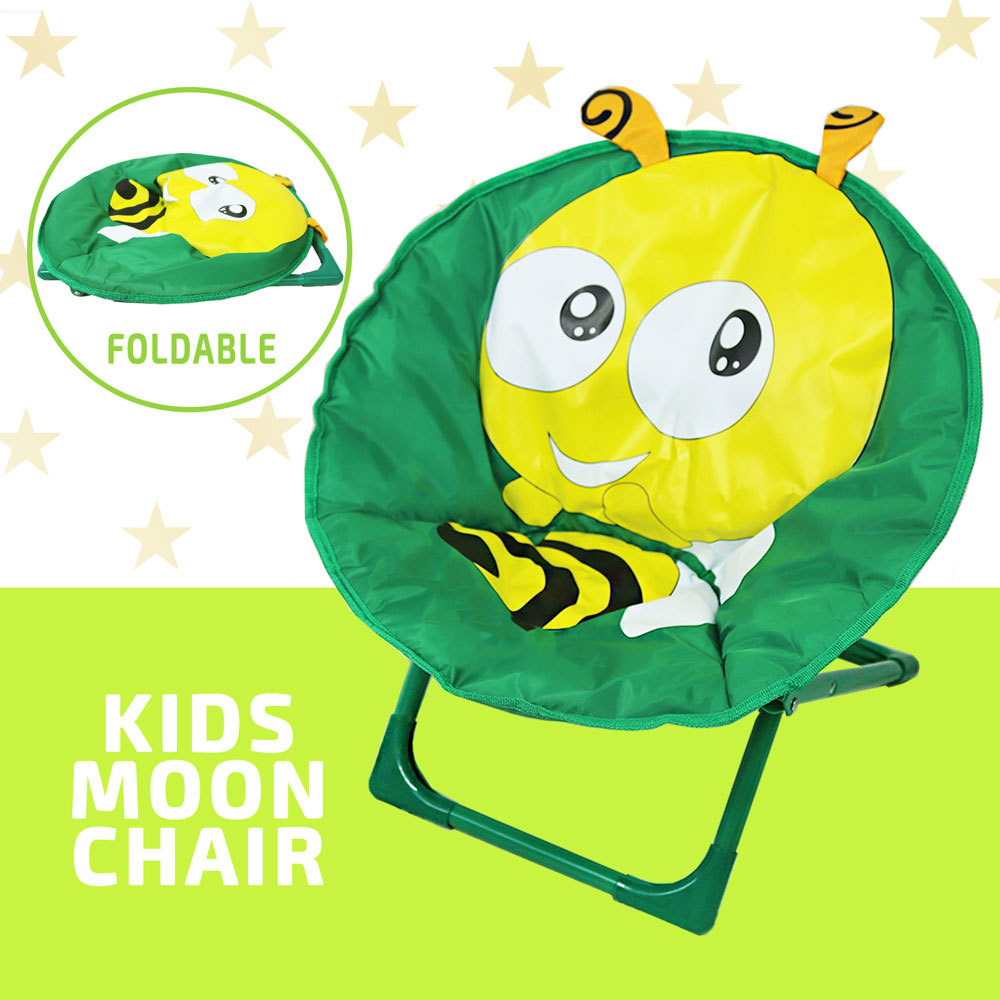 Kids Moon Chair Folding Padded Oval Round Seat Toddler