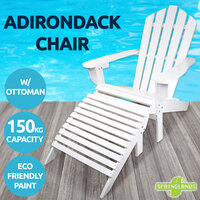 Adirondack Chair W/ Ottoman Outdoor Lounge Furniture Garden Beach Deck White