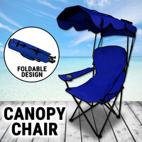 Canopy Chair Foldable W/ Sun Shade Beach Camping Folding Outdoor Fishing Navy