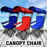 Canopy Chair Foldable W/ Sun Shade Beach Outdoor Camping Folding Fishing