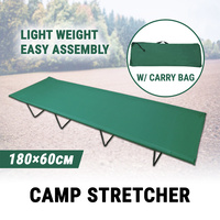 Single Camping Stretcher Cot Bed Foldable Tents W/ Bag Sleep Emergency Survival