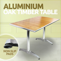 Aluminium OAK Timber Table Rectangle Cafe Bar Pub Table  Waterproof  120x70 cm