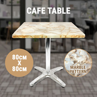 Outdoor Cafe Table, Marble Pattern Melamine top, stainless steel leg, 80x80cm