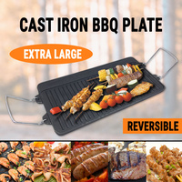 Reversible Cast Iron BBQ Plate W/ Handle Barbecue Hob Griddle Grill Pan Frying