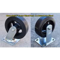 "Castor Wheel 6"" Pack w/ 2 x Swivel & 2 x Fixed Polythene Heavy Duty, Casters"
