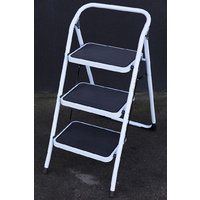 Domestic Ladder 3 Steps, Folding Steel Step Ladder Soller Loads 150kg Heavy Duty