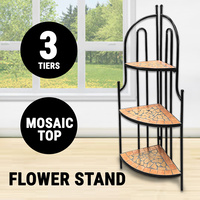 Flower Stand Mosaic Top, Powder Coated Frame #FS003