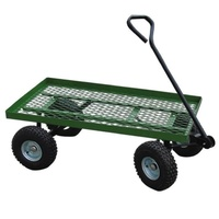 Garden Cart Flat Bed Mesh 600lb Cap. Trailer Farm Wheel Barrow