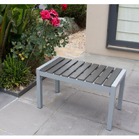 Long Stool Aluminium Frame w/ Wooden Slat 79x41x45cm, Outdoor Chair Bench