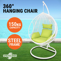 Hanging Egg Chair Swing Hammock Cushion Rattan Wicker Indoor Outdoor Lounge White