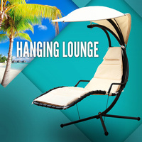 Beige Lounge Swing Chair Garden Hanging Patio Chaise Deck Hammock Bed Outdoor