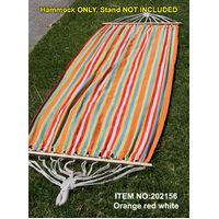 Single Cotton Hammock W/ Wooden Spreader Bar Swing Bed Outdoor Garden Camping