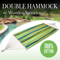 Double Hammock Wood Spreader Bar Cotton Fabric Outdoor Sleeping Bed Camping
