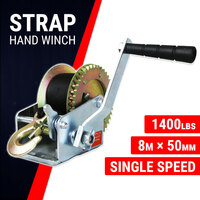 Hand Winch Strap 1400 lbs, Boat Trailer Gear Winch, Weather Resistant