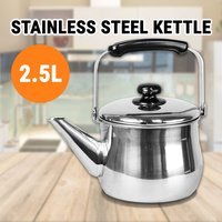 2.5L Stainless Steel Kettle Tea Water Pot Camping Outdoor Stovetop Kitchen