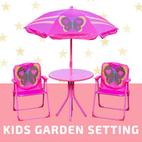 4PCS Kids Garden Setting W/ Umbrella Table Camping Chair Children Park Outdoor