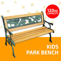 Kids Park Bench Wooden Bench Cast Iron Leg Garden Outdoor Furniture Lounge Seat