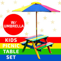 Kids Picnic Table Setting W/ Umbrella Wooden Children Garden Park Outdoor Kid