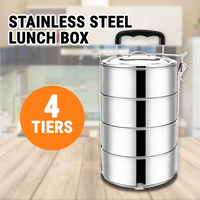 4 Tiers Stainless Steel Lunch Box Portable Food Container Bento Picnic Mental