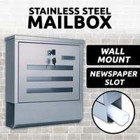MailBox Stainless Steel Wall Mount Post Newspaper Letter Mail Box Letterbox