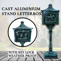 Mailbox Castle,Cast Aluminium Letterbox w/ Key Lock, Mail,Stand Antique Letter,Mail Box