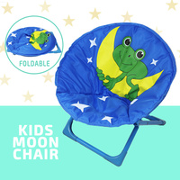 Kids Moon Chair Folding Padded Oval Round Seat Toddler Lounge Outdoor Camp Beach