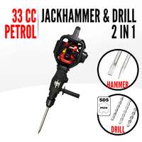 33CC Petrol 2in1 Demolition Jack Hammer + Drill SDS Max Chisel Jackhammer Break