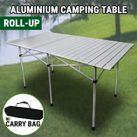 Roll Up Camping Table Aluminium Portable Folding Outdoor Picnic Beach BBQ