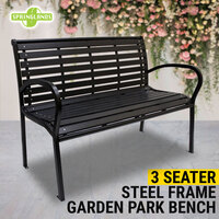 3 Seater Steel Garden Bench Park Bench Outdoor Lounge Patio Chair Rust-Resistant