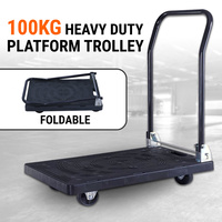 Folding Platform Trolley Hand Truck Foldable Cart Strong Moulded Plastic 100kg