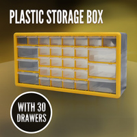 Storage Drawer w/ 30 Compartments, Plastic Tool Box Organiser Bin Screw Case