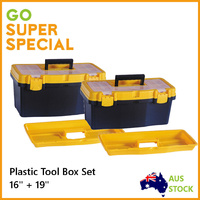 "Tool Box Set Plastic 16"" + 19"" w/ 6 Compartments, Storage Organiser Box Case Bin"