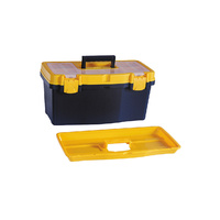 "Tool Box Plastic 19"" w/ 6 Compartments, Storage Organiser Case Organizer Bin"