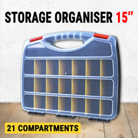 "Storage Organiser Plastic 15"" w/ 21 Compartments, Tool Box Case Organizer Bin"