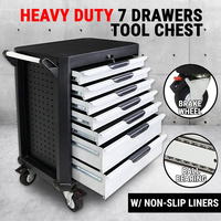 7 Drawers Tool Box Chest Mechanic Cabinet Toolbox Trolley Storage Organiser Set