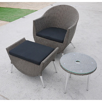 PE Rattan Setting 3 Pcs, Glass Top, Aluminium Frame, Chair Foot Rest, PE Wicker