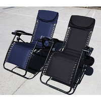 Recline Foldable Chair w Head Rest, Lounge Padded,Position adjustable,Cup Holder