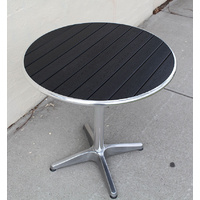 Cafe Table Aluminium Round 70x70x72cm Resin Top Heavy Duty Black, Outdoor Indoor