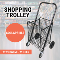 Collapsible Shopping Trolley Large Steel Basket Folding Cart Grocery Luggage