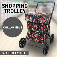 Extra Large Collapsible Shopping Trolley Fixed Wheels Water Resistent Flower
