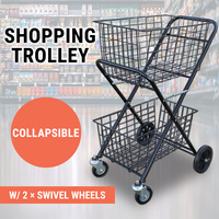 Shopping Trolley Double Basket Swivel Wheel Collapsible Shop Cart 2 Tier Tennis Ball Cart