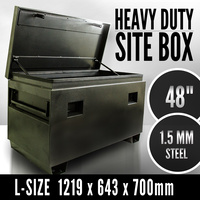 "48"" Jobsite Tough Box, Site Box Heavy Duty Tool Box Case Chest Storage, Toolbox"