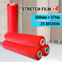 4 x Stretch Film Red 500mm x 375m x 25mic Pallet Shrink Wrap Hand Carton Roll