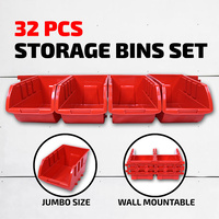 32PC Storage Bin Rack Tray  Wall Mounted Rail Tool Box Organiser Garage Workshop Small Parts