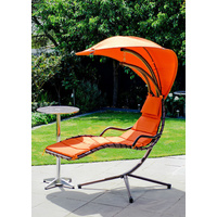 Outdoor Swing Chair w/ Aluminium Bar Table Set,Hanging Chair Waterproof Canopy