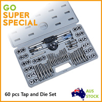 Tap and Die Set 60 Pcs, Alloy Steel Tool Set SAE and Metric