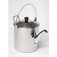 Stainless Steel Teapot 3L, 6 Pint Billy Tea Pot Billycan Kettle Water Heavy Duty