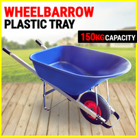 Wheel Barrow Plastic Tray 150KG Capacity Heavy Duty WheelBarrow - Blue