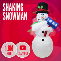 Shaking Snowman 1.8m Christmas Inflatable Light Xmas Shivering Airblown Animated
