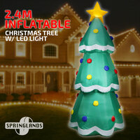 Inflatable Christmas Tree W/ LED Light 2.4M Gift Xmas Decoration Outdoor Airblown